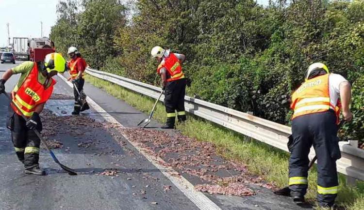 AKTUÁLNĚ: Na dálnici se vysypal náklad z kafilerie. Vytvořil vrstvu dlouhou padesát metrů