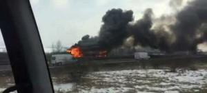 Požár nákladního vozidla na D1 - pohledem z hasičského vozidla ŽELEČ 22.2.2018